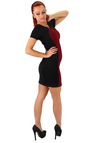 Modernes Kleid in Stepp Optik Weinrot