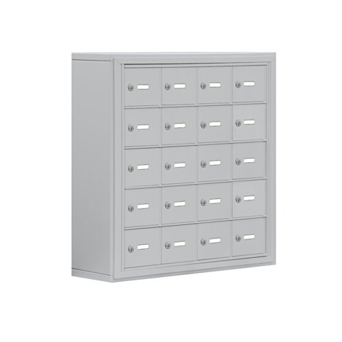 Salsbury Industries Aluminum 5-Door High Surface Mounted Cell Phone Storage Locker Unit with 20 A-Size Doors and Master Keyed Locks