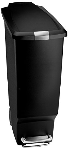 40l Gallons - simplehuman 40 Liter / 10.6 Gallon Slim Kitchen Step Trash Can, Black Plastic Bin With Secure Slide Lock