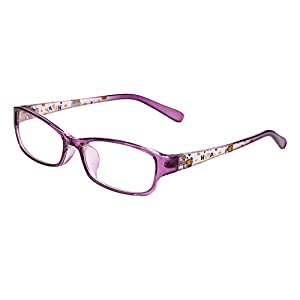Agstum Kids Classic Rectangle Optical Frame Girls Boys Glasses Clear Lens (Purple)