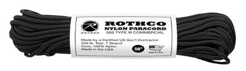 Rothco Type III Commercial Paracord (Black, 550-Pound/50-Feet), Outdoor Stuffs