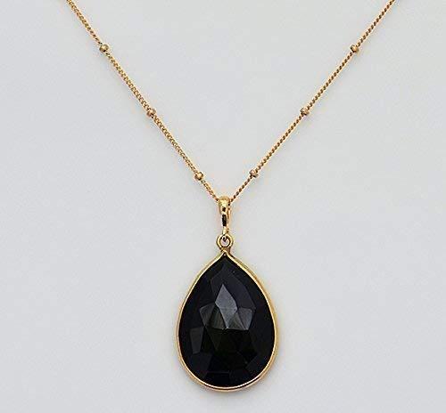 Large Natural Black Onyx Gemstone Necklace, Large Black Gemstone Necklace, Pear Shape Black Onyx, 18x25mm Teardrop Pendant Necklace