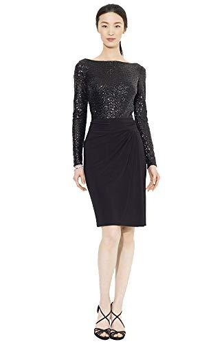Lauren Ralph Lauren Sequined Jersey Dress (Black, 6)