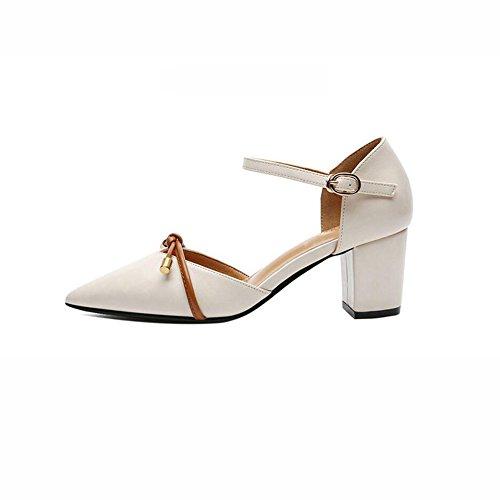 2cm 6 Zapatos Apuntado 39 Tacón De UK6 Uppers Primavera DALL EU Zapatos Y tacón Color De Negro Alto Verano Sandalias Zapatos 731 Liso Tamaño Negro Ly CN Cabeza Alto Beige 39 Mujer de nvfgOB