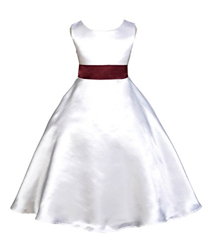 White A-Line Satin Flower Girl Dress Junior Bridesmaid Dress Ball Gown 821S 8 ()