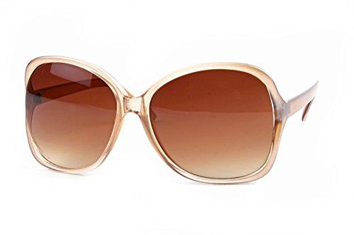 Women Oversized Trendy Fashion Sunglasses P2086 (Tan-GradientBrown Lens) (Womens Sunglasses Tan)