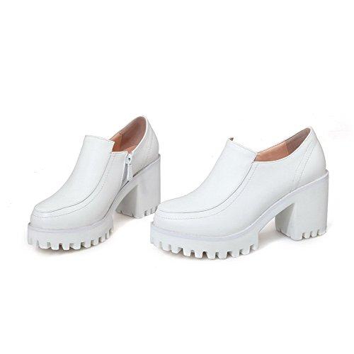 Rotonda Cerniera Chiusa Pompe Donne Bianco Talloni Allhqfashion calzature Solidi Delle Punta rqqE85