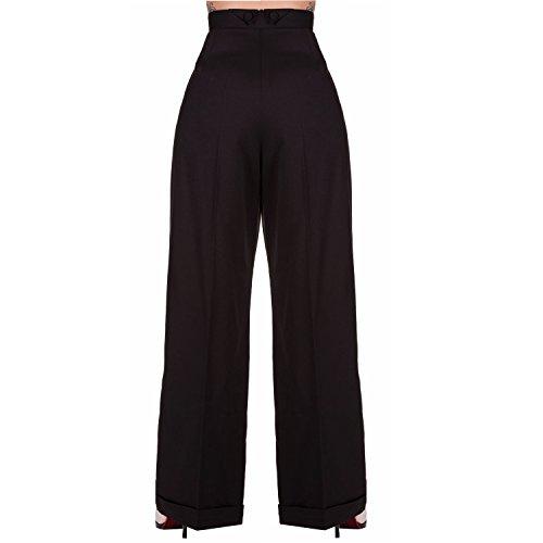 Alta Stile Vintage Gamba Apparel Eccellente Nero Pantaloni Swing Banned 1940s Qualità Retro Sportivi Larga Donna Vita wPtqpX