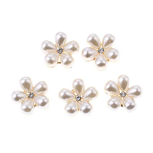 (MOPOLIS 5 Pcs Flower Cluster Crystal Pearl Buttons Sewing Craft Wedding Buckle Jewelry   Model - #3 Single Small Rhinestone)