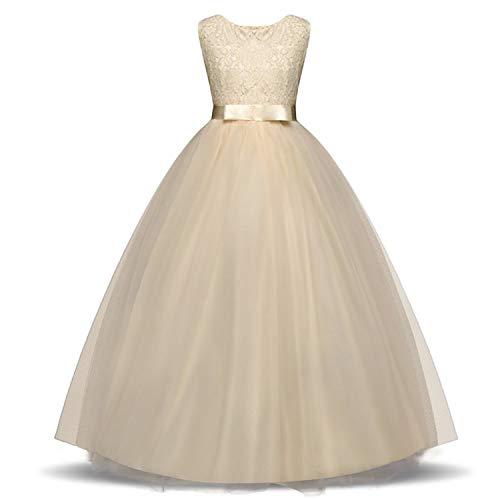 Kids Dress for Girls 5 6 8 10 Year Birthday Wedding Tulle Lace Long Girl Dress Elegant Princess,HU,9 -