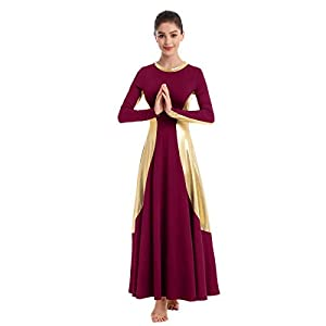 IBAKOM Womens Praise Liturgical Dancewear Long Sleeves Dance Dress Metallic Gold Loose Fit Full Length Tunic Circle…