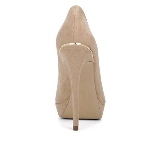 Zapatos Kolnoo tacón con Mujer Beige dFq4FWzHav