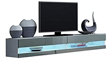 Amazon Com 70 Inch Tv Stand White Gray Mdf Wall Mounted With 16