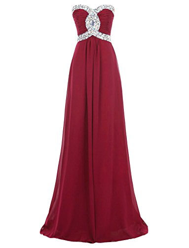 Eros ebridal del tesoro novia vestido larga noche de gasa Ropa Vestido De Pelota granate
