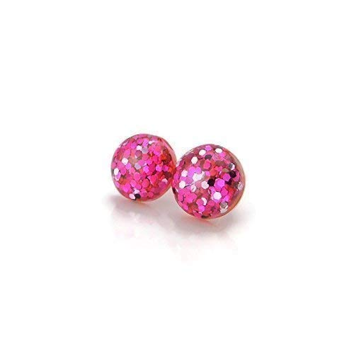 Pink Glitter Confetti Filled Earrings on Hypoallergenic Plastic Posts, 12mm