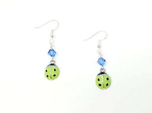 Green Ladybugs with Swarovski Crystal Earrings