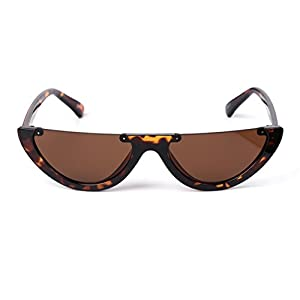 Hukai Ladies Fashion Triangle Cat Semi Rimless Frame Retro Color Fresh Cool Sunglasses (# 3)