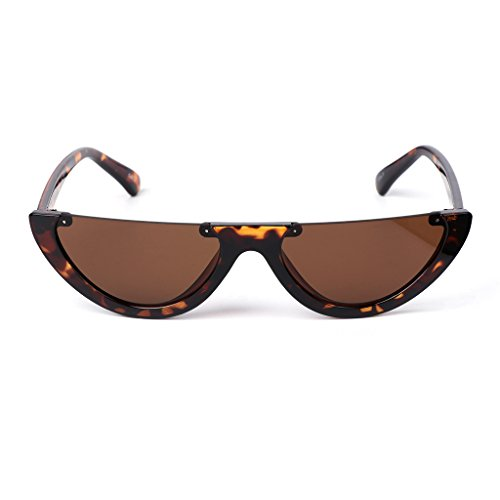Hukai Ladies Fashion Triangle Cat Semi Rimless Frame Retro Color Fresh Cool Sunglasses (# - Shapes Different Sunglasses