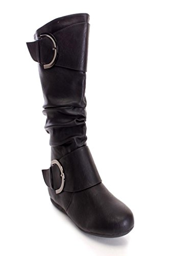 Buckle Pu Round Top Premium Women's Moda Boot Black with Toe Slouchy xx0Zwnv
