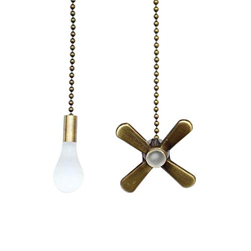 Ceiling Fan Pull Chain 3mm Diameter Beaded Ball Fan Pull Chain, 13.6 Inches Fan Pulls Set with Connector(Bronze)