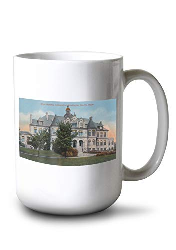 Lantern Press Seattle, Washington - Exterior View of University of WA Main BLDG (15oz White Ceramic Mug)