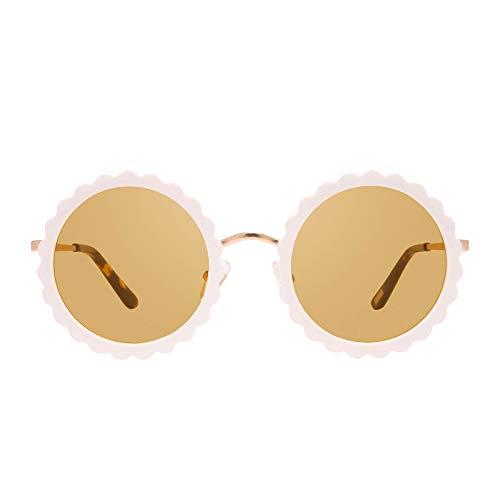 DIFF Eyewear - Dixie - Women's Designer Round Flower Bling Sunglasses - 100% UVA/UVB (Brushed Gold White Flower + Yellow)