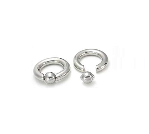 Painful Pleasures 0g Steel Captive Bead Ring with POP FIT Ball - 13mm ~ 1/2