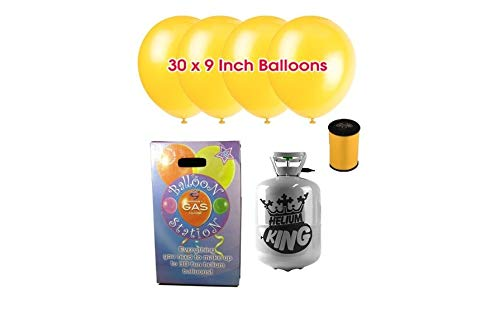 Helium Gas Cylinder Having Capacity of 50 Balloons Fills Included 50 Assorted Balloons and Curling Ribbon Partyrama
