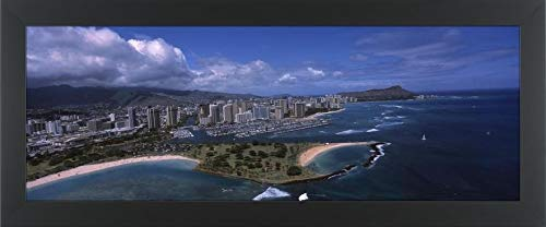 Easy Art Prints Panoramic Images's 'Aerial View of Buildings at The Waterfront, Ala Moana Beach Park, Waikiki Beach, Honolulu, Oahu, Hawaii, USA' Framed Canvas Art - 40