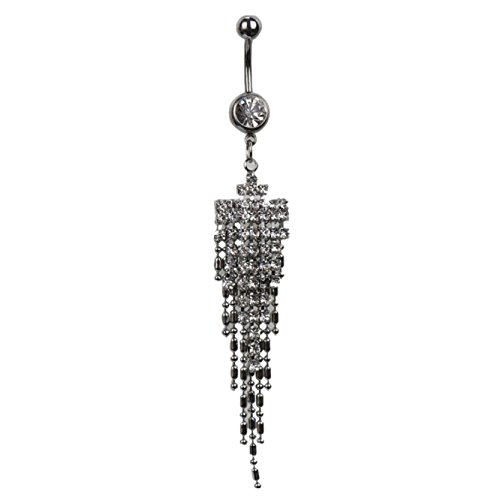 Black Friday Sale GreatFun Rhinestone Long Tassel Navel Dangle Button Belly Ring Bar Body Piercing Jewelry for Party Dance Show ()