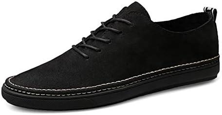 メンズカジュアルシューズファッションスケートフラットシューズ靴ひもライトシンラウンドヘッドレザーアウトドアスポーツ滑り止め 快適な男性のために設計