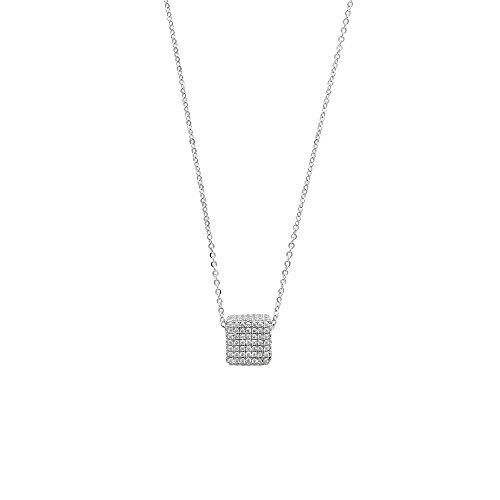 Jouailla - Collier microserti forme carré avec oxydes de zirconium en argent 925/1000e rhodié