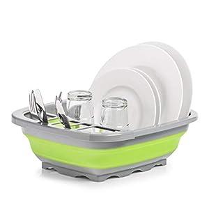 Zeller 26625 Abtropfkorb, faltbar, Kunststoff, grau/grün, ca. 38,4 x 32,4 x 4,6 / 12 cm, Camping