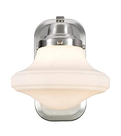 7 1//2 Wide One-Light Metal Bathroom Vanity Wall Light Fixture Aspen Creative 62073 Transitional Design in Brushed Nickel with Opal Etched Glass Shade