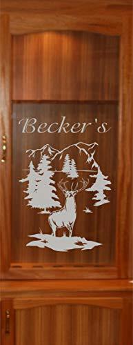 - StickerChef Deer Buck Mountains DIY Etched Glass Vinyl Gun Cabinet Window Front Door GC07B