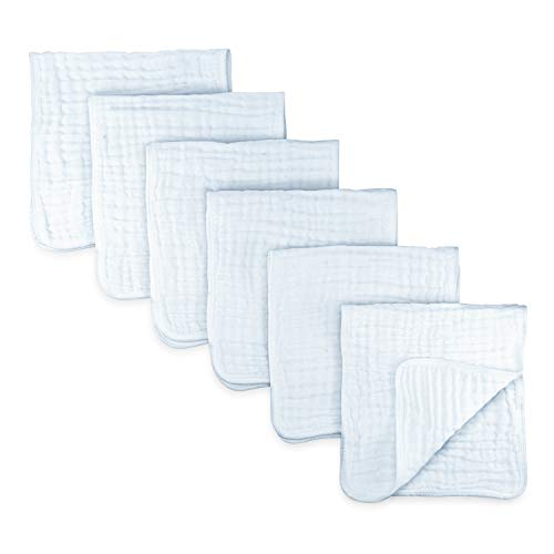Muslin Burp Cloths 6 Pack Large 100% Cotton Hand Washcloths 6 Layers Extra Absorbent and Soft (White) from Comfy Cubs
