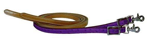 Tahoe Tack Ostrich Print Matching Split Reins (Pair) USA Leather Purple