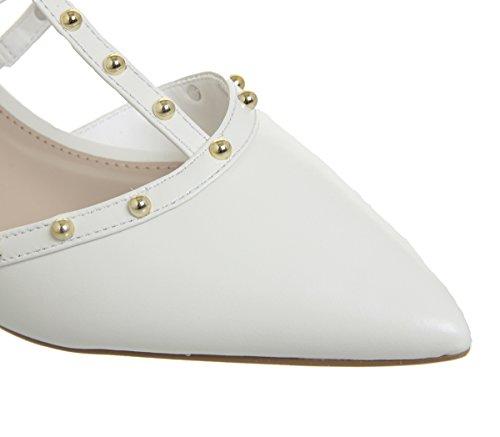 Office Manner Studded Point Kitten Heels White Leather kpIhBdxA