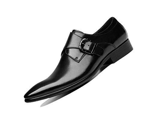 Negro Puntiagudo Zapatos Negocio De Boda Inglaterra Fiesta Cuero Para Suave Trabajo Hombre Hebilla Marrón Black SSp4xwqrO