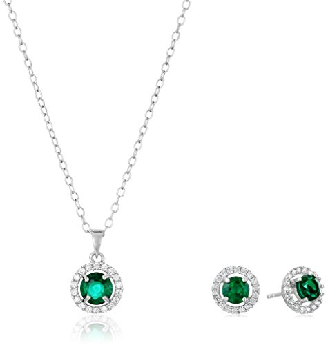 Sterling Silver Created Emerald Earrings and Pendant Necklace Jewelry Set