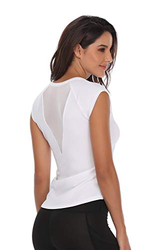 (32e-SANERYI Women's V-Neck Pullover Short Cap Sleeve Sports Shirt Quick-Drying Tees-ws White)