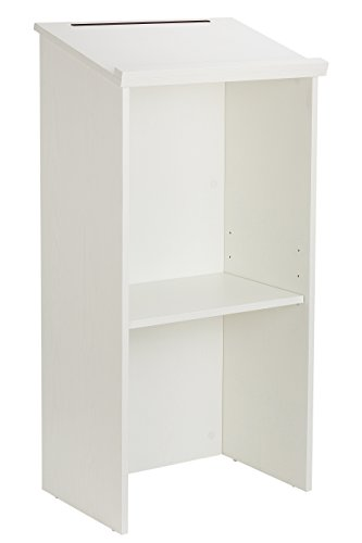 AdirOffice Stand up, Floor-standing Podium, Lectern with Adjustable Shelf and Pen/Pencil Tray (White Wood) by AdirOffice