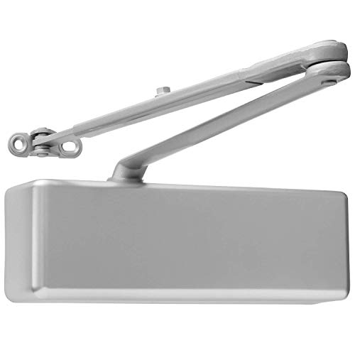 Extra Heavy Duty Commercial Door Closer, Surface Mounted, Aluminum Finish, BHMA Grade 1, Cast Iron, UL & ADA Compliant, by Lawrence Hardware LH8016