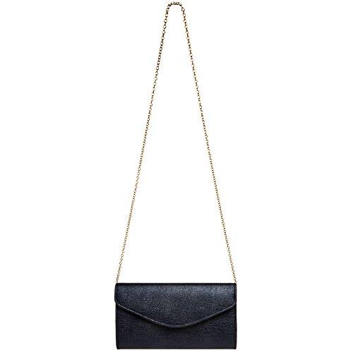 Pochette chainette de CASPAR femme de soirée pour enveloppe Foncé soirée TA432 avec élégante Bleu longue Sac Pochette 1pqw1zxC6