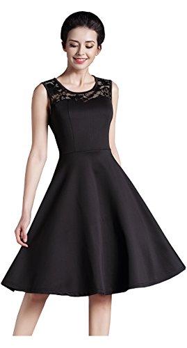 HOMEYEE - Vestido - trapecio - Floral - Cuello redondo - Sin mangas - para mujer A008 Negro