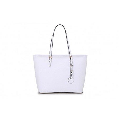 LeahWard® Damen Große Größe Mode Groß Schultertaschen Damen Essener Einkaufstasche Handtaschen 362 Übermaß Schultertasche-Weiß/Cream (40x16x29cm) jhwo0