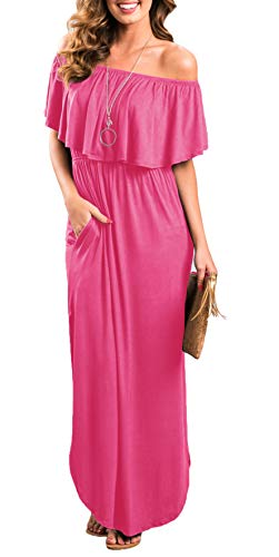 Womens Off The Shoulder Ruffle Party Dresses Side Split Beach Maxi Dress Rose Red L