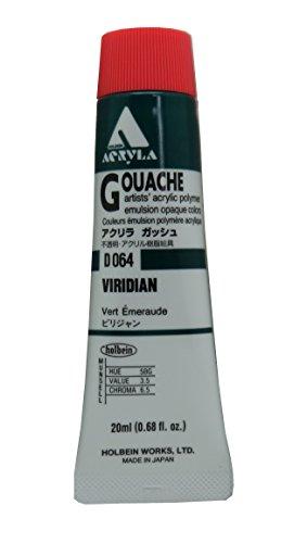Holbein Acryla Gouache Artists Acrylic Polymer Emulsion, 20ml Viridian (D064)