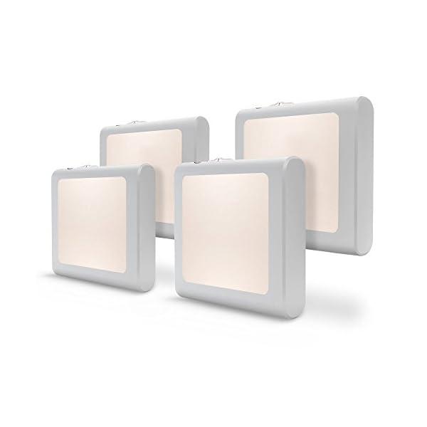 [4Pack] Vintar Dimmable LED Night Light, Plug-in Nightlight with Auto Dusk to Dawn Sensor,Adjustable Brightness Warm White Lights for Hallway,Bedroom, Kids Room, Kitchen, Stairway,Bathroom