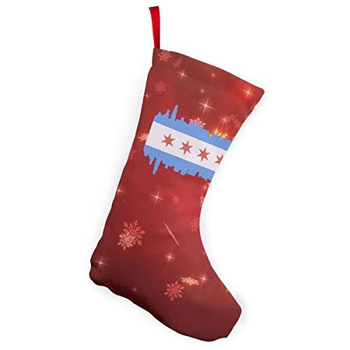 Chicago State Flag Christmas Stockings Christmas Xmas Tree Fireplace -